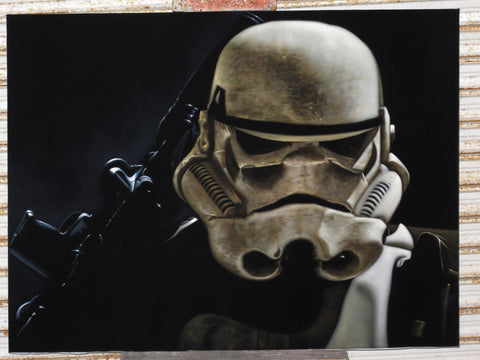 "Stormtrooper (3 foot by 4 foot ""huge"") Portrait, storm trooper, Star Wars,  Original Oil Painting on Black Velvet by Arturo Ramirez ""ARGO"" - #R45x"