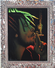 Bob Marley Portrait in Rasta colors,  Oil Painting Portrait on Black Velvet; Original Oil painting on Black Velvet by Arturo Ramirez - #R4