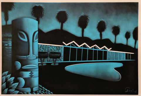 "Tiki / Googie oil painting by A Ramirez  after ""Cool pad"" by Robb Hamel #R54h"