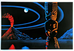 "Copy of Tiki / Googie oil painting by A Ramirez  after ""Sleeping Sentinel"" by Robb Hamel #R55h"