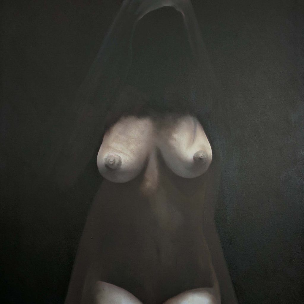 "Nude in Dark, Oil on canvas size 28""x41""x2"": Nun, Virgin, Woman Dark Modern style Original Oil paint Canvas R57"