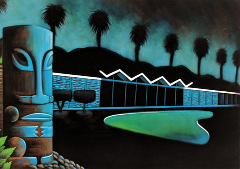 "Tiki / Googie oil painting by A Ramirez  after ""Cool Pad Baby"" by Robb Hamel #R59"