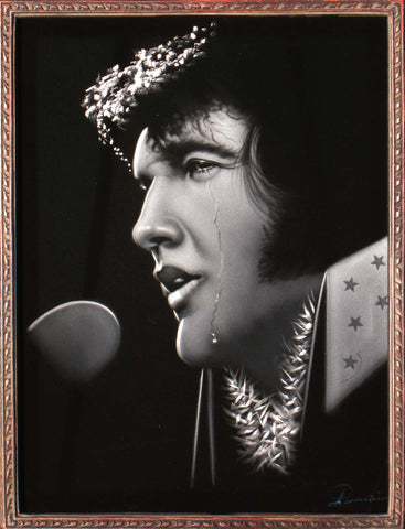 Elvis Presley crying  Oil Painting Portrait on Black Velvet; Original Oil painting on Black Velvet by Arturo Ramirez - #R6
