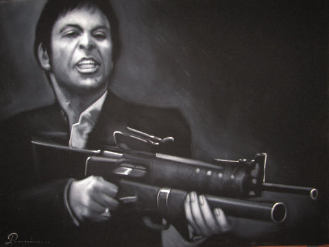 Tony Montana with gun Portrait on Black Velvet; Original Oil painting on Black Velvet by Arturo Ramirez - #R8