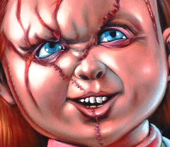 Chucky; Child's Play Original Oil painting on Black Velvet by Santos Llamas- #SA03