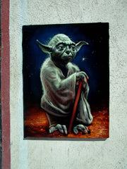 Yoda ; Star Wars; Original Oil painting on Black Velvet by Santos Llamas- #SA100