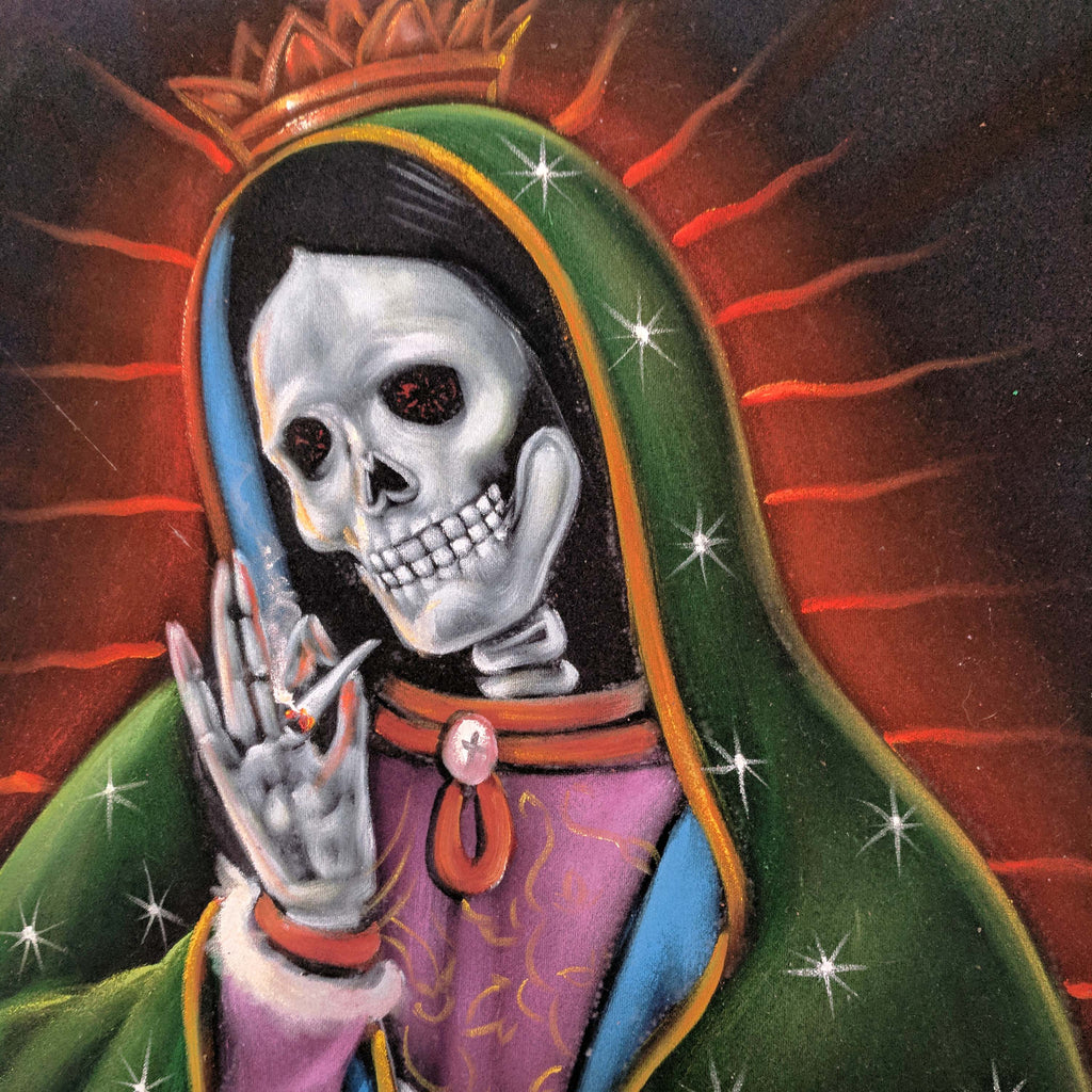 Virgin of Guadalupe  Calavera Skull smoking weed, Mexican Religious art Original Oil Painting Black Velvet SA178