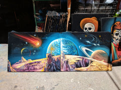 Diptych (2 PAINTINGS )- Planetary Space Meteor Panoramic Original Oil Painting Black Velvet px SA179