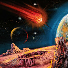 Planetary Space Meteor Original Oil Painting Black Velvet p2 SA180