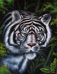 White tiger portrait ; Original Oil painting on Black Velvet by Santos Llamas- #SA35