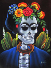 Calavera de Frida Kahlo; Original Oil painting on Black Velvet by Santos Llamas- #SA36