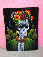 Calavera de Frida Kahlo; Original Oil painting on Black Velvet by Santos Llamas- #SA37