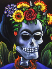 Calavera de Frida Kahlo; Original Oil painting on Black Velvet by Santos Llamas- #SA39