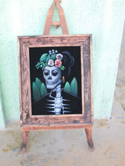 Calavera de Frida Kahlo; Original Oil painting on Black Velvet by Santos Llamas- #SA60