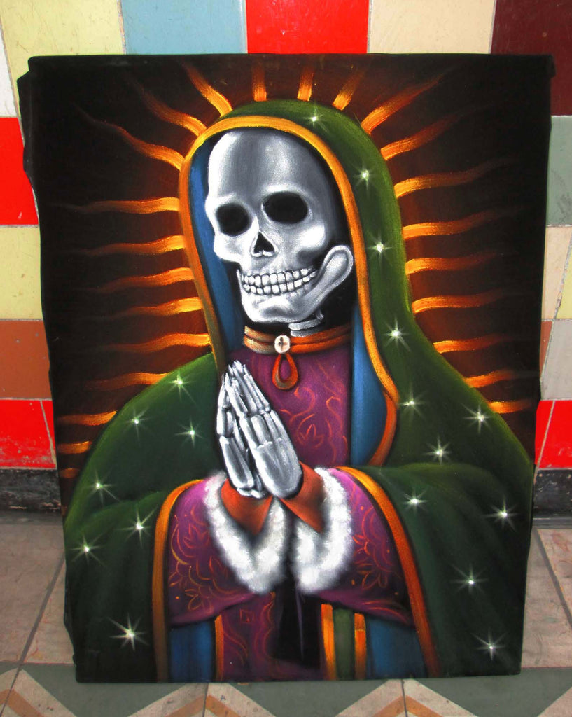 Our Lady of Guadalupe Original Oil painting on Black Velvet by Santos Llamas- #SA61