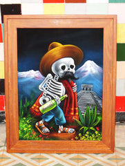 Calavera de Francisco I. Madero (Calavera of Francisco Madero) ; Original Oil painting on Black Velvet by Santos Llamas- #SA64