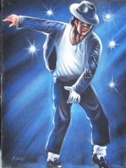 Michael Jackson ; Original Oil painting on Black Velvet by Santos Llamas- #SA65
