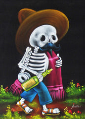 Calavera de Francisco I. Madero (Calavera of Francisco Madero) ; Original Oil painting on Black Velvet by Santos Llamas- #SA92