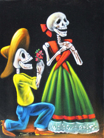 Calavera; Ni Aqui te Olvidare! ... (I will not Forget You even from Here! ...) ; Original Oil painting on Black Velvet by Santos Llamas- #SA93
