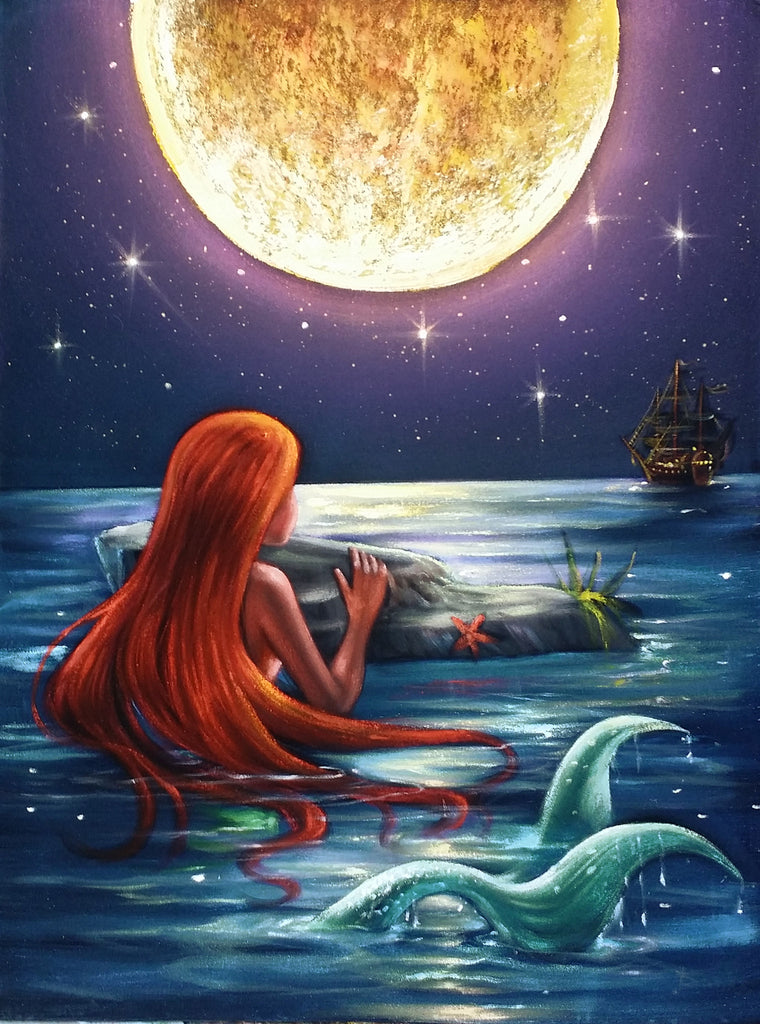 The Little Mermaid, Ariel; Original Oil painting on Black ...