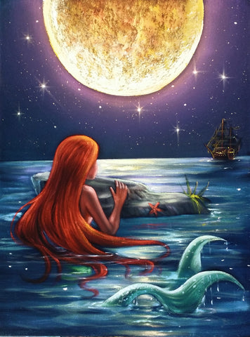 The Little Mermaid, Ariel; Original Oil painting on Black Velvet by Santos Llamas- #SA96