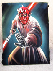 Darth Maul ; Star Wars; Original Oil painting on Black Velvet by Santos Llamas- #SA99
