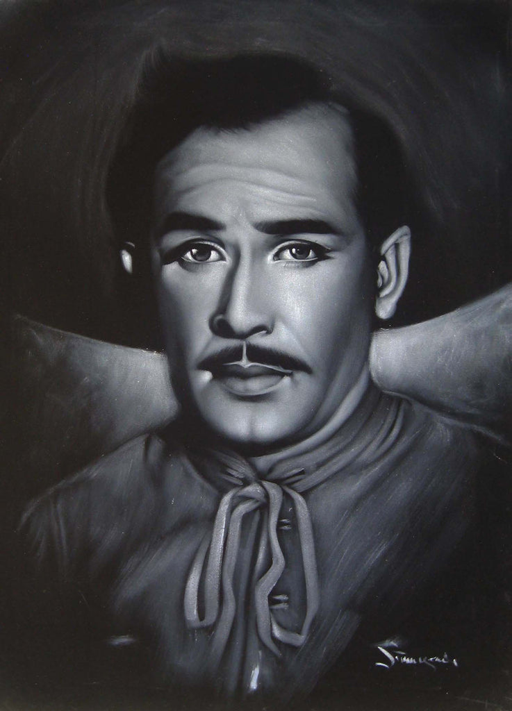 Pedro Infante portrait; ; Original Oil painting on Black Velvet by Zenon Matias Jimenez- #JM115