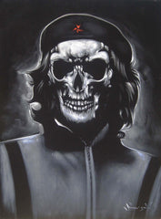 Che Guevara Calavera skull portrait;  Day of the dead; Original Oil painting on Black Velvet by Zenon Matias Jimenez- #JM116