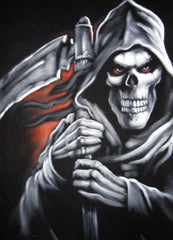 "Grim Reaper, Death, Original Oil Painting on Black Velvet by Alfredo Rodriguez ""ARGO"" - #A117"