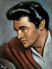 "Elvis Presley Portrait ; Jail House Rock , Original Oil Painting on Black Velvet by Alfredo Rodriguez ""ARGO"" - #A317"