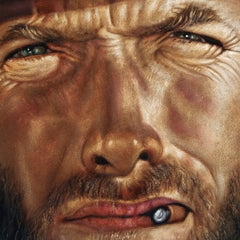 "Clint Eastwood portrait,  Man with No Name, Spaghetti Western, Original oil painting on black velvet by Argo size (24""x18"") a425"