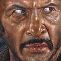 "Tuco, Eli Wallach ""Ugly"" portrait,  Man with No Name, Spaghetti Western, Original oil painting on black velvet by Argo size (24""x18"") A426"