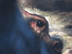 "Hippo, Hippopotamus, Original Oil Painting on Black Velvet by Enrique Felix , ""Felix"" - #F14"