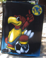 "Club America Mexican Soccer Team Mascot and Logo, NFL Original Oil Painting on Black Velvet by Enrique Felix , ""Felix"" - #F138"