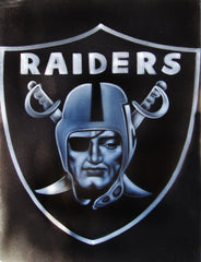 "Oakland Raiders logo, NFL Original Oil Painting on Black Velvet by Enrique Felix , ""Felix"" - #F139"