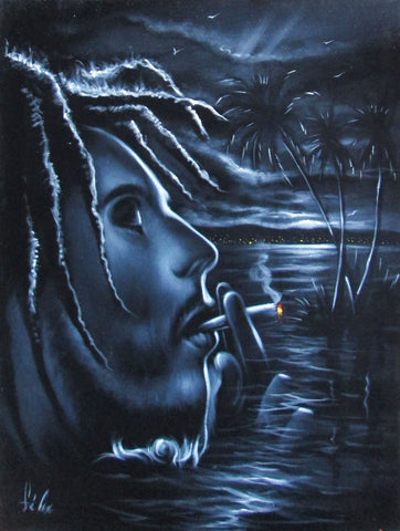 "Bob Marley Smoking,  Original Oil Painting on Black Velvet by Enrique Felix , ""Felix"" - #F142"
