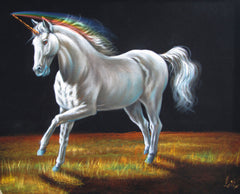 "Unicorn,  White magical rainbow Unicorn, Original Oil Painting on Black Velvet by Enrique Felix , ""Felix"" - #F143"