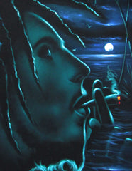 "Bob Marley Smoking,  Original Oil Painting on Black Velvet by Enrique Felix , ""Felix"" - #F144"