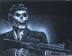 "Tony Montana Skeleton,  Original Oil Painting on Black Velvet by Enrique Felix , ""Felix"" - #F145"