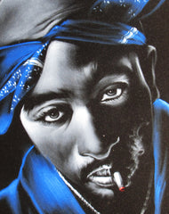 "Tupac Amaru Shakur portrait, 2Pac,  Original Oil Painting on Black Velvet by Enrique Felix , ""Felix"" - #F147"