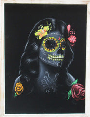 "Sugar Skull fluorescent Face paint girl, Day of the Dead (Día de los Muertos), Original Oil Painting on Black Velvet by Enrique Felix , ""Felix"" - #F155"