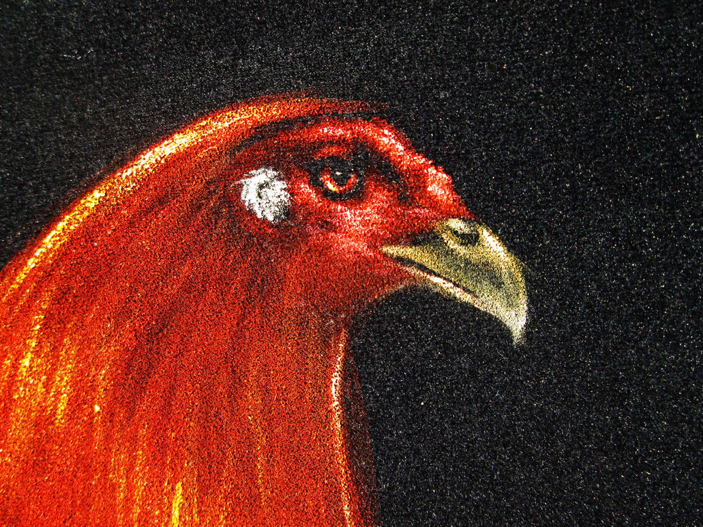 Rooster, Red And Blue Mexican Cock, Original Oil Painting On Black Vel  Velvetify-3396