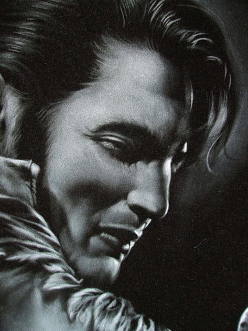"Elvis Presley Playing Guitar,  Original Oil Painting on Black Velvet by Enrique Felix , ""Felix"" - #F160"