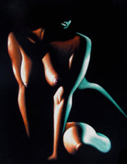 "Nude, Sexy Chiaroscuro Nude in the Dark,  Original Oil Painting on Black Velvet by Enrique Felix , ""Felix"" - #F185"