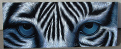 "Tiger Eyes, White Tiger Eyes  Original Oil Painting on Black Velvet by Enrique Felix , ""Felix"" - #F190"