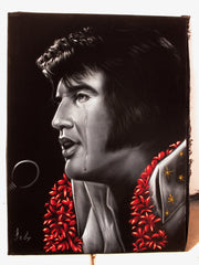 "Elvis Presley, Crying with Tear,  Original Oil Painting on Black Velvet by Enrique Felix , ""Felix"" - #F191"