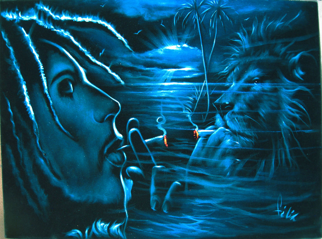"Bob Marley and Lion  Smoking,  Original Oil Painting on Black Velvet by Enrique Felix , ""Felix"" - #F59"
