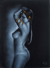"Nude, Sexy Egyptian Playboy Nude in Grey-scale,  Original Oil Painting on Black Velvet by Enrique Felix , ""Felix"" - #F90"