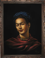 "Frida Kahlo Portrait, Ofelia Medina as Frida,  Original Oil Painting on Black Velvet by Enrique Felix , ""Felix"" - #F1"