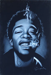 Wiz Khalifa portrait; rapper; Cameron Jibril Thomaz;  Original Oil painting on Black Velvet by Zenon Matias Jimenez- #JM114